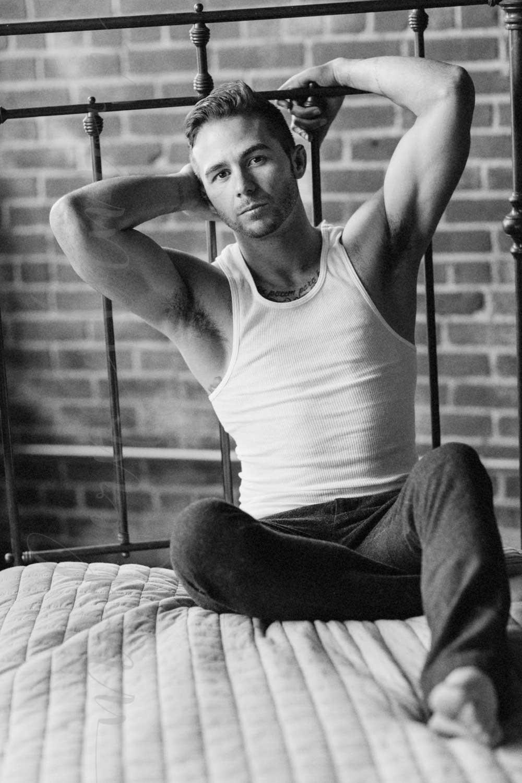 male boudoir photography boston massachusetts bed