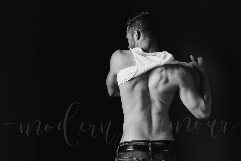 male boudoir photography boston mass clean classic white tank top