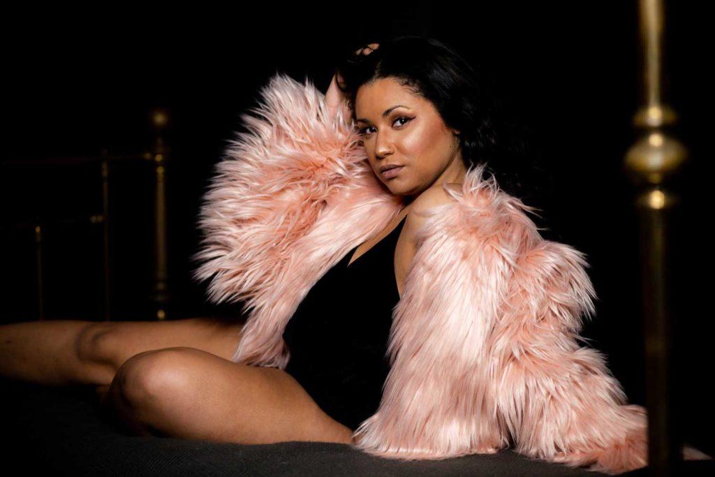 pink fur boston boudoir photography plus size
