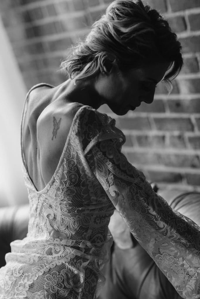 boston lingerie photo shoot white lace bell sleeve deep v back