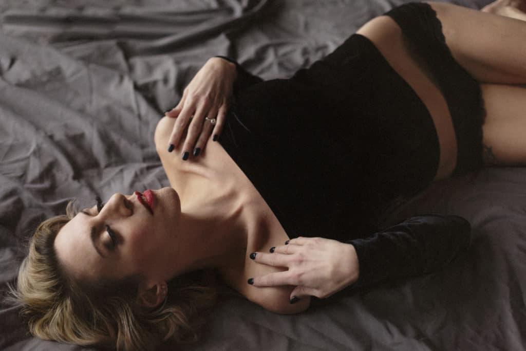 boston lingerie photo shoot black velvet off the shoulder
